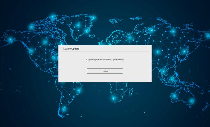 world map with sytem dialogue box