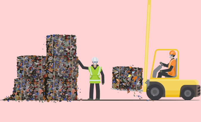 workers collecting waste