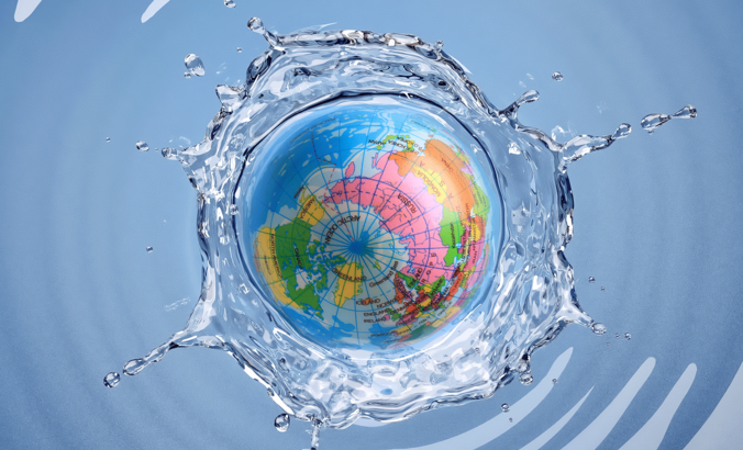 globe dropping and rippling