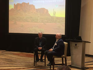 "Joel Makower and Peter Bakker in conversation at ""Redefining Corporate Value."""