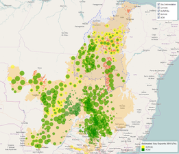 A map using Trase data shows origins of soy exports from Brazil's Cerrado.