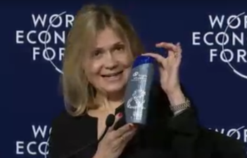 Virginie Helais, VP of global sustainability at P&G, with the ocean-friendly bottle.