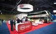 BYD's booth at ACTExpo featured a bus, a delivery van, a forklift and more.