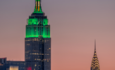 Empire State Building with green lights