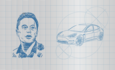 Elon Musk and Electric Car drawings