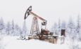 natural gas pump in the snow