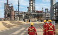 Shell employees walking towards Shell Scotford refinery