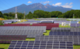 Photovoltaic solar panels in a mountainous region of Japan