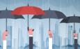Illustration of hands holding umbrellas in the rain