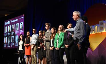 GreenBiz 18 Emerging Leaders speaking on the stage