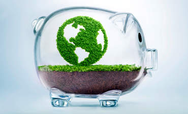 Transparent piggy bank with green world in it