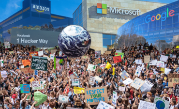 Big Tech offices with protest outside
