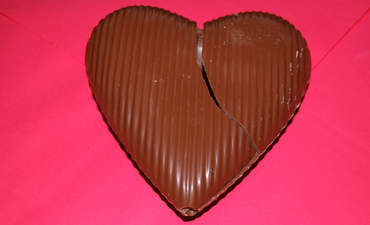 Broken chocolate heart