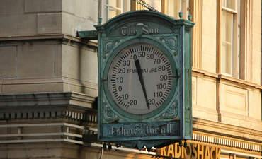 Broken thermometer in Manhattan in 2009