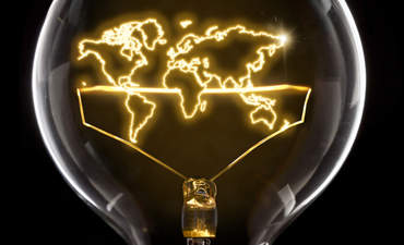 Lightbulb with map inside