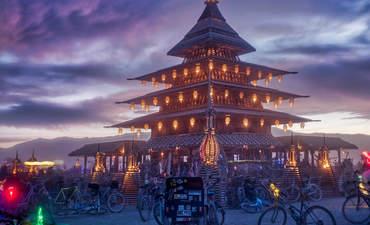 A Burning Man scene at night