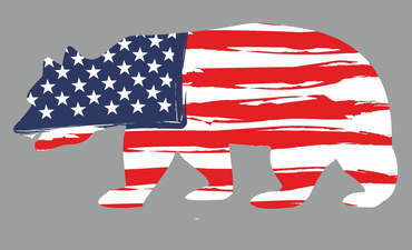 A bear, a symbol of California, bearing the stars and stripes