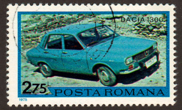 Car on a postage stamp