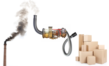machine sucking smoke out of the air and creating products