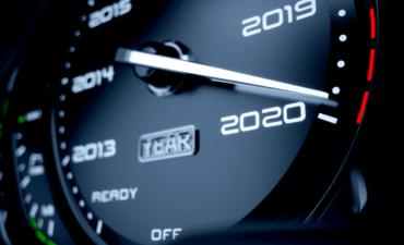 Car speed meter approaching 2020
