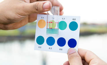 Hands indicate pH levels in water testing.