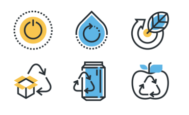Icons representing recycling and circular economy