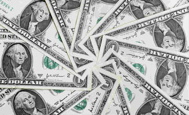 A circle of U.S. dollars