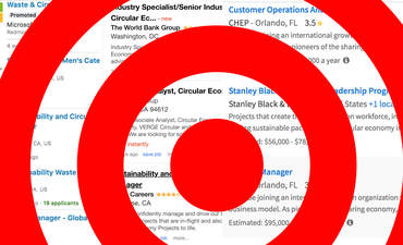 """A red target superimposed on real """"circular"""" job listings."""