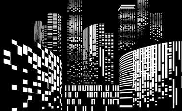 Black and white cityscape