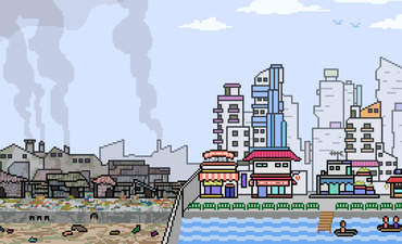 A pixelated cartoon image of rich and poor sides of a city.