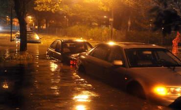 Flooded streets in Brooklyn, N.Y. in the wake of Hurricane Sandy