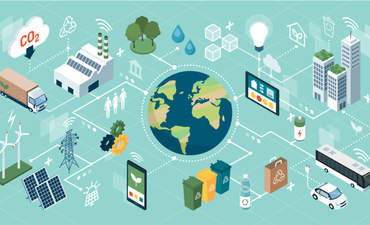 Illustrated network of solutions for environmental sustainability