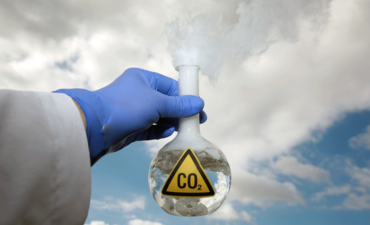 scientist with carbon dioxide