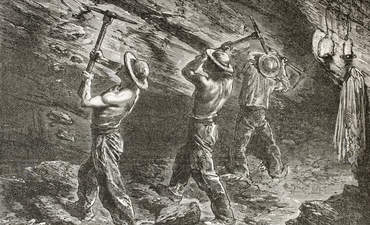 Coal miners at work. Created by Mesnel, published in Le Tour du Monde, Paris, 1867