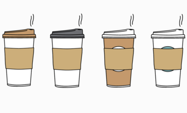 Illustration of several disposable coffee cups