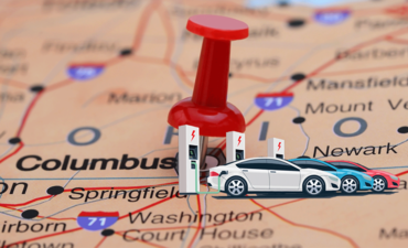 Columbus, Ohio on a map with an EV charging station