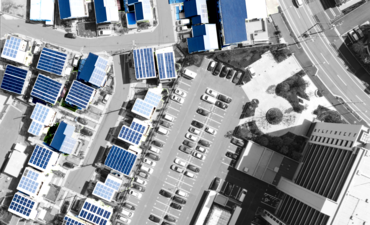 solar panels over a residential area