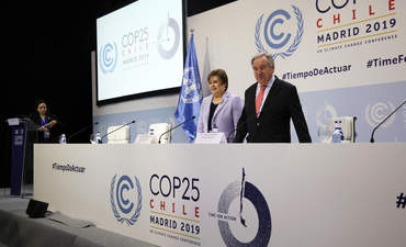 Conference Secretary General Antonio Guterres and Executive Secretary Patricia Espinosa at COP25 in Madrid, Spain