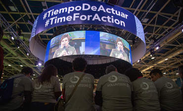 Patricia Espinosa, Executive Secretary for the United Nations Framework Convention on Climate Change, meeting with COP25 volunteers