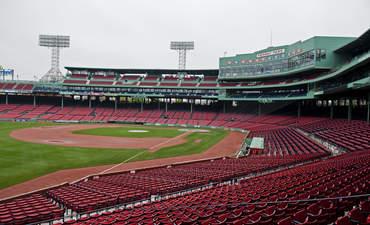 Fenway Park, a sports venue in Boston, is empty