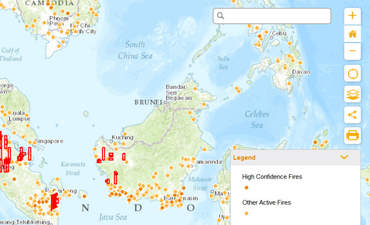 Global Forest Watch shows a map of fires in protected areas