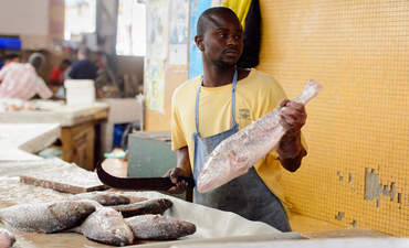 Senegalese person cuts fish at the covered market in Dakar, Senegal
