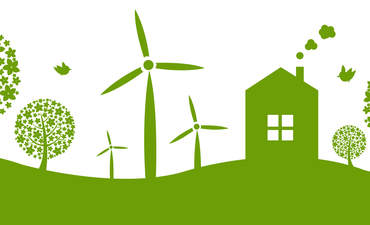 Illustration of wind turbines, trees and house