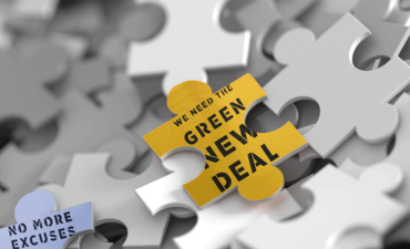 puzzle with green new deal signs