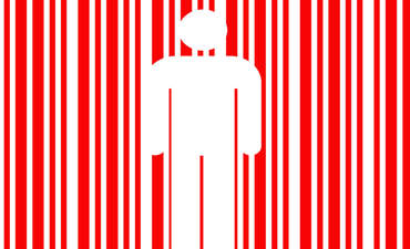 Illustration of a human figure inside a bar code