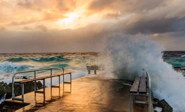 Hurricane on a pier