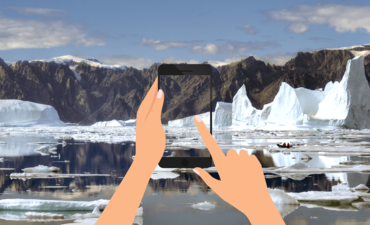 Melting icebergs in Northeast Greenland with illustrated hand holding a phone.