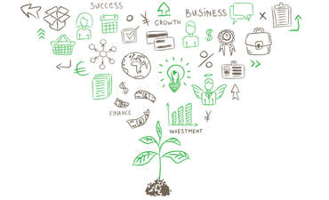 Graphic showing business concepts
