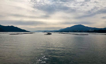 Oyster farms off the coast of the Hiroshima prefecture