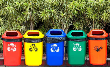 Waste bins in Kamikatsu, a zero-waste town in Japan